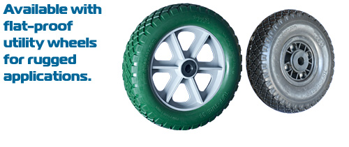 For firm surfaces, these solid foam, indestructible wheels will do great.