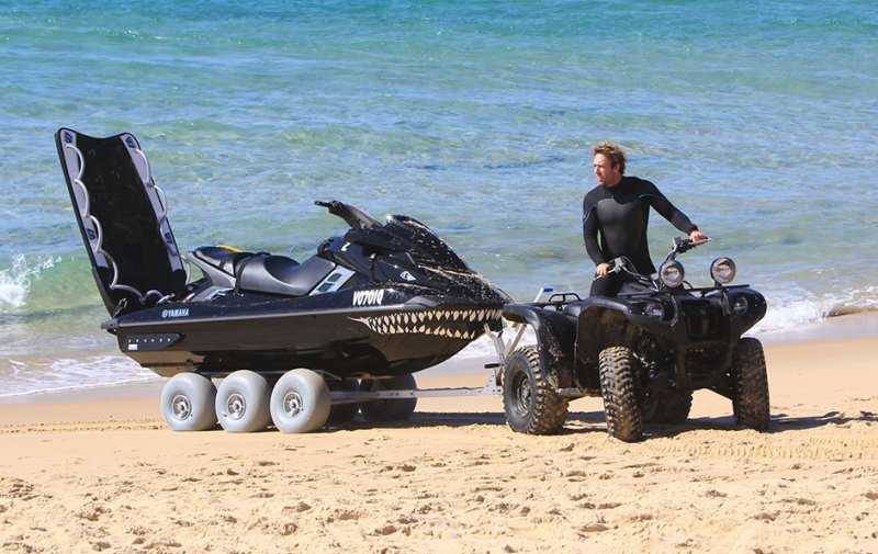 International Big Wave Surfer  'Mark Visser' showing the versatility of the WZ1-D36 and ATV Hitch Kit