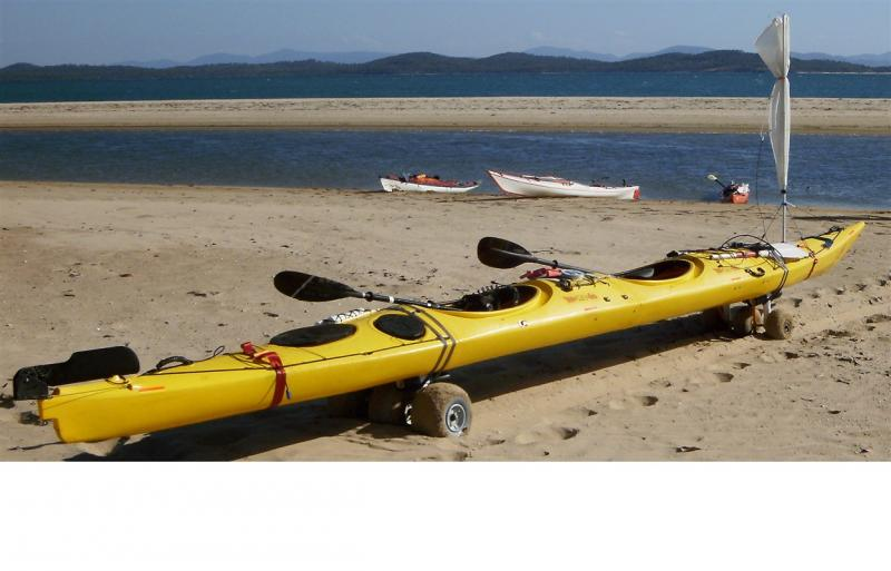 2x Kayak carts combined and up to 350 kg's of kayaks and provisions hauled across almost knee deep soft sand... only with WheelEEZ® wheels!!